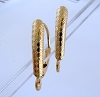 14k solid Gold coil pattern shield lever back leverback Ear Wire 2pcs GGE01