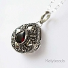 24mm Tear Drop Sterling Silver Poison Locket Keepsake Pendant with Faceted Red Garnet PL32