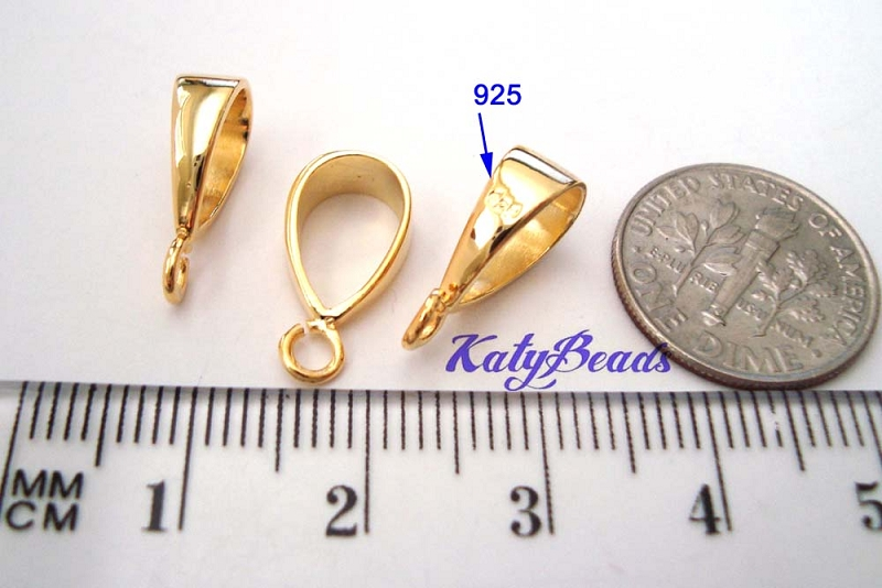 15.5mm x 5mm x 8mm  gold plated silver Bail VA07