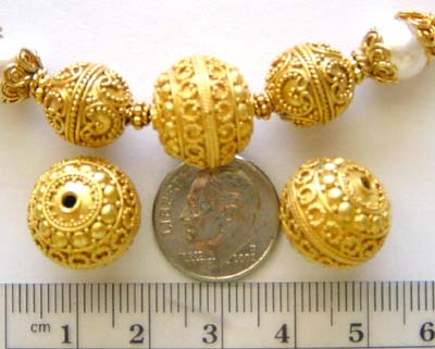 15mm gold plated silver Ornate Bali Bead VB33