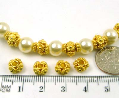 '7.5mm gold plated sterling silver Bead Spacer VB49