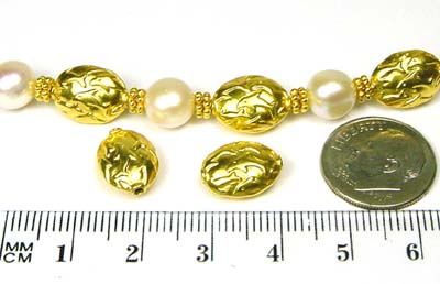 12.5mm x 9mm Dolphin gold plated silver bead VB59