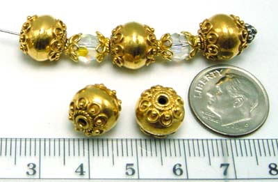 10mm gold plated silver Bali Bead VB05