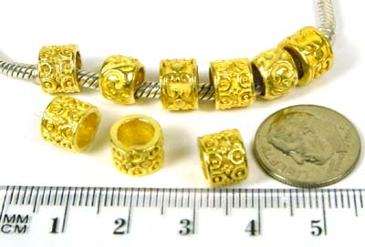 8.5mm x 6,5mm gold plated silver * Beads fits Pandora VB62
