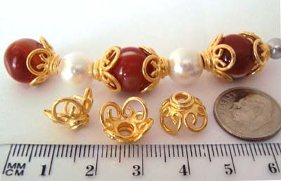 13mm x 9mm gold plated silver Large bead caps (6pcs/pk) VC20