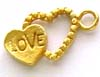 gold plated silver Double Heart Charm Dangle VD08