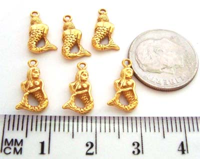 14mm gold plated silver Mermaid dangle charm VD24