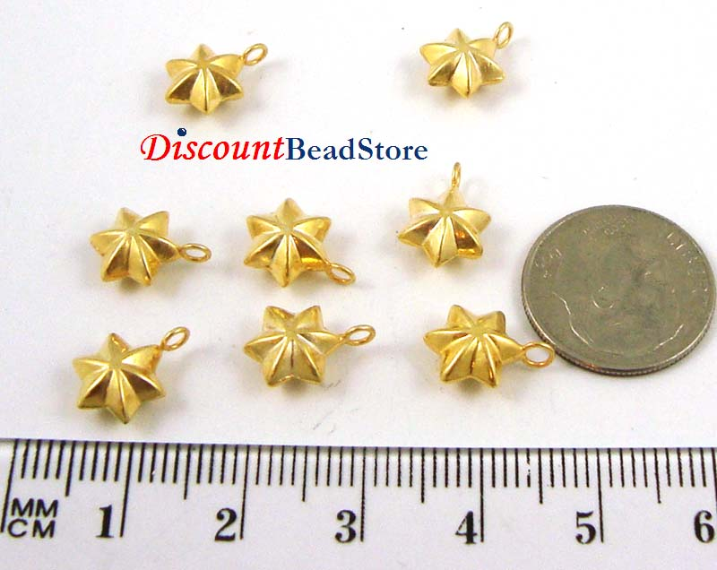 9mm gold plated silver Star Dangle Charm VD25