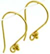 20 gauge 3 dots gold plated silver Ear Hook Wires VE05 (3 pairs)