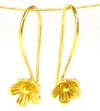 22 gauge gold plated silver flower earring wire (2 pairs) VE08
