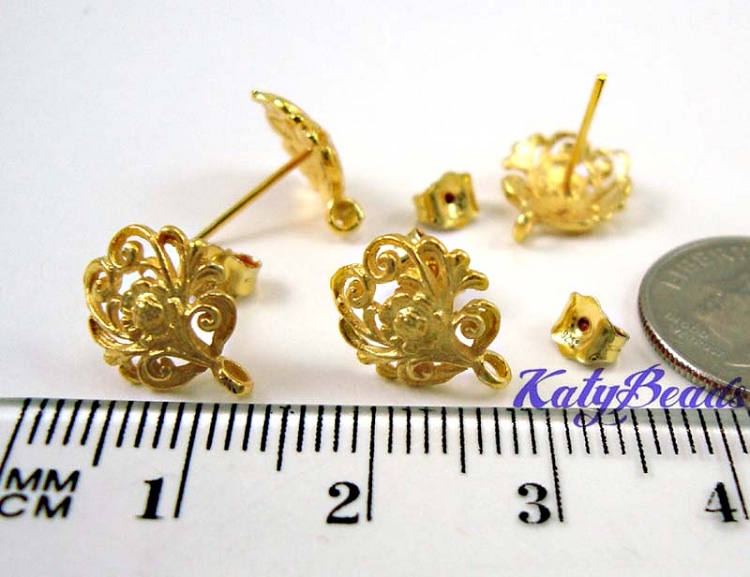 10mm gold plated silver Floral Ear Post with loop & butterfly back VE25n