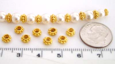 6mm x 3mm  gold plated silver 24K gold Plated bali Spacer (12pcs/pk) VS08L